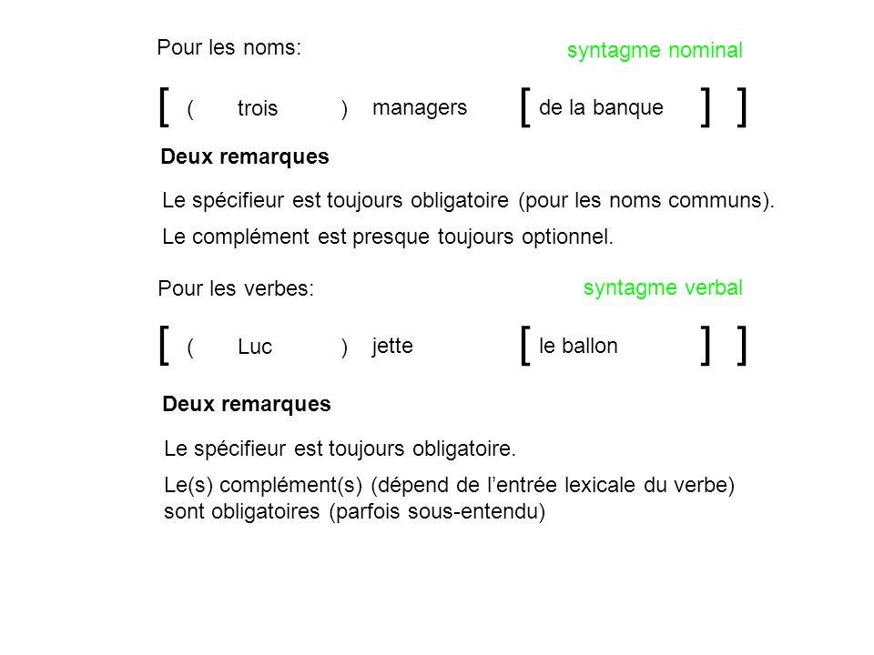 [ [ ] ] [ [ ] ] Pour les noms: syntagme nominal ( trois ) managers